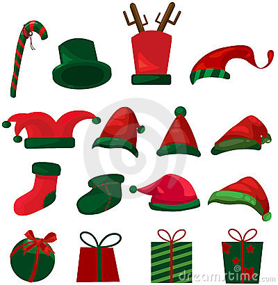 Set of christmas hat and gifts