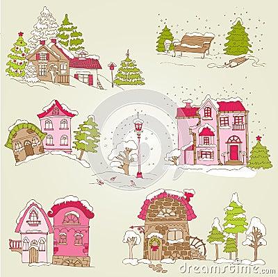 Set of Christmas Houses