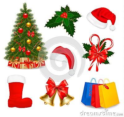 Set of Christmas icons. Vector