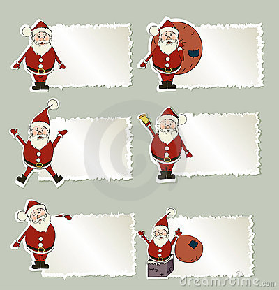 Set of christmas label Santa Claus
