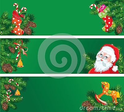 Set of Christmas and New Year horizontal banners w