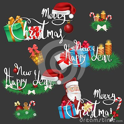 Set of Christmas and New Year icons and wishes Vector Illustration