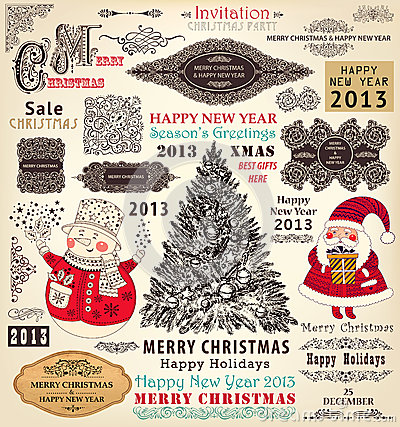 Set of Christmas Ornaments and Decorative Elements