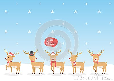 Set of Christmas Reindeer Vector Illustration