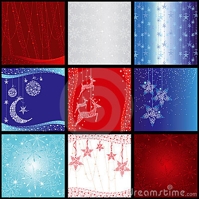 Set of christmas snowflake background