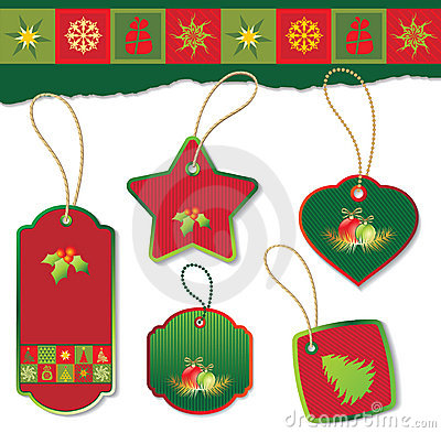 Set of christmas tag