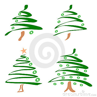 Set of christmas trees. Vector