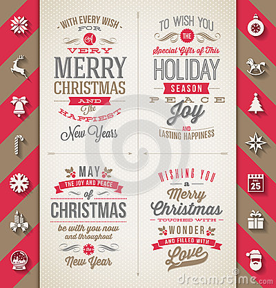 Set of Christmas type designs Vector Illustration