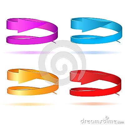 Set of circular arrows 3d
