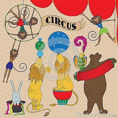 Set of circus animals