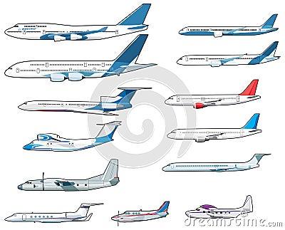 Set of civilian airplananes