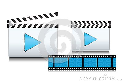Set of clapboard icons with film