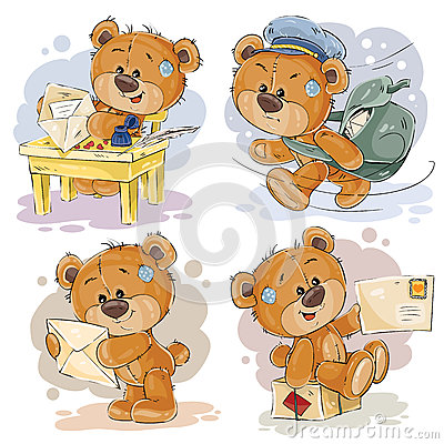 Set clip art illustrations of teddy bear gets and sends letters Cartoon Illustration