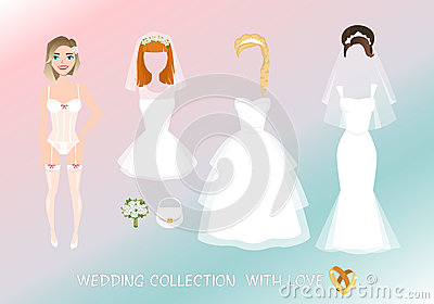 Set of clothes for the bride in cartoon style. Vector Illustration