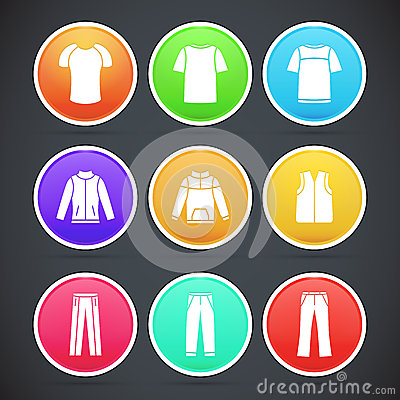 Set of clothes colorful icons