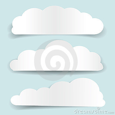 Set of cloud-shaped paper banners Vector Illustration