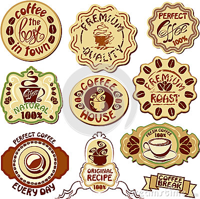 Set of coffee labels - hand drawn icons of cup and