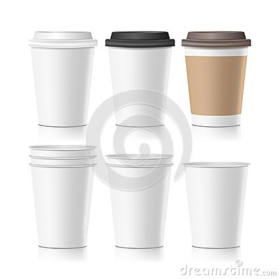 Free Set Coffee Paper Cups Vector. Empty Clean Paper Collection 3d Coffee Cup Mockup. Isolated Illustration Stock Photography - 100900432