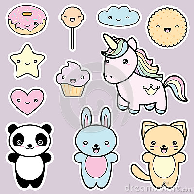 set collection of cute kawaii style labels stock vector