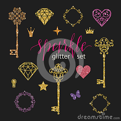 Free Set Collection Of Golden Glitter Diamonds, Hearts, Stars, Frames, Butterfly And Keys On Black Background. Royalty Free Stock Images - 88409839