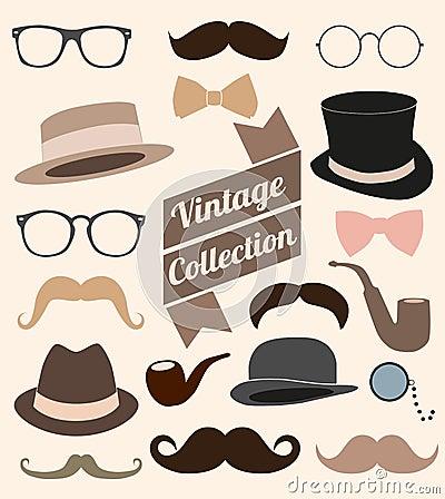 Set of collection vintage fashion elements.  illus