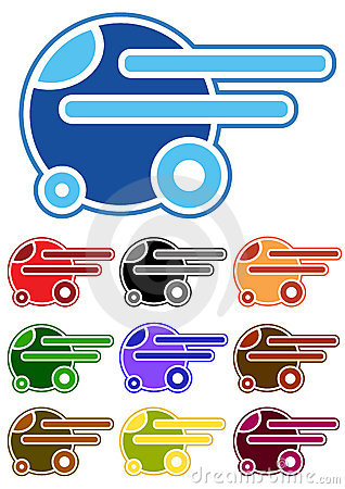Set of color cartoon cars