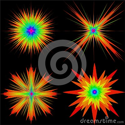 Set of color explosions on a black background. Vector Illustration