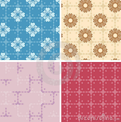 Set - color geometric patterns seamless - eps