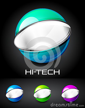 Set of color glossy sphere with metal elements