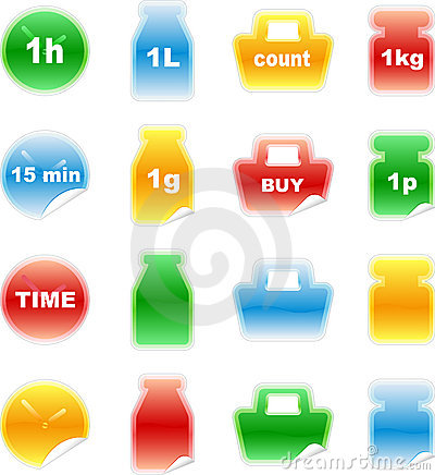Set of color labels, sticker,