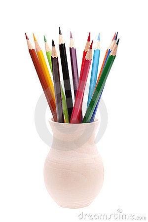 Set of color pencils in wooden vase