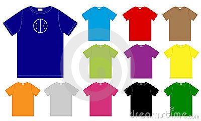Set Of Color T-Shirts Templates Royalty Free Stock Photo - Image: 12386035