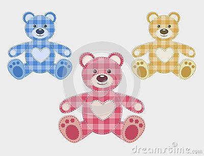 Set of color teddy bear