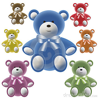 Set of color teddy bear with bows