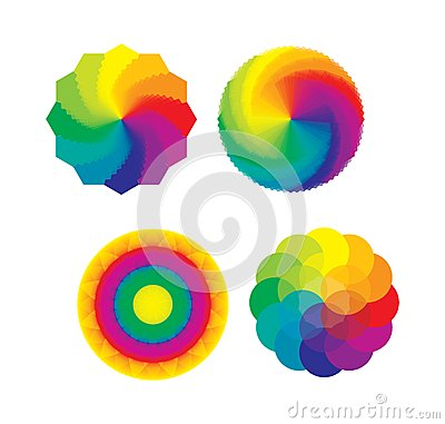 Set of Color Wheels / Flower of Life Multicolored