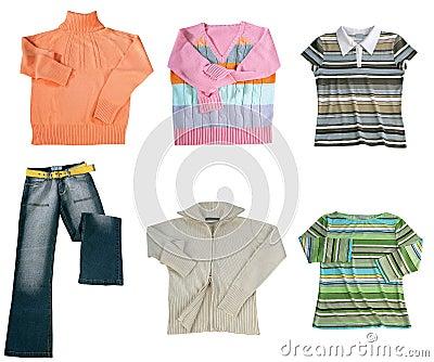 Set of color women clothes