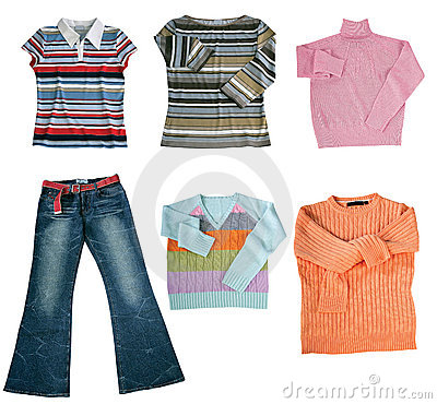 Set of color women clothes