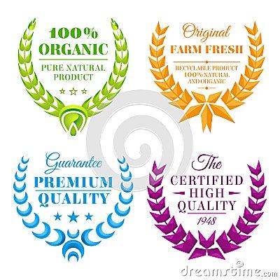 Set of color wreath labels