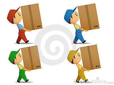 Set colored delivery boy with box