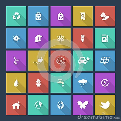 Set of colored ecology icons, square background