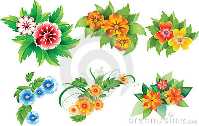 Set of colored flowers