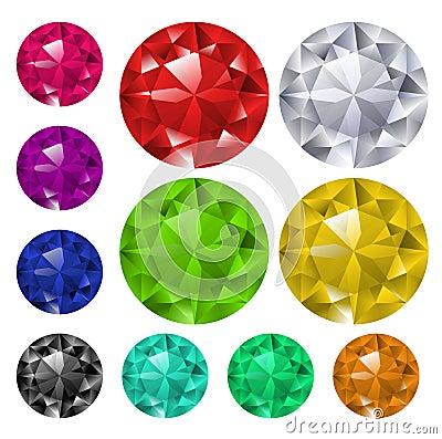 Set of colored gems