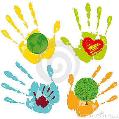 Set of colored hands