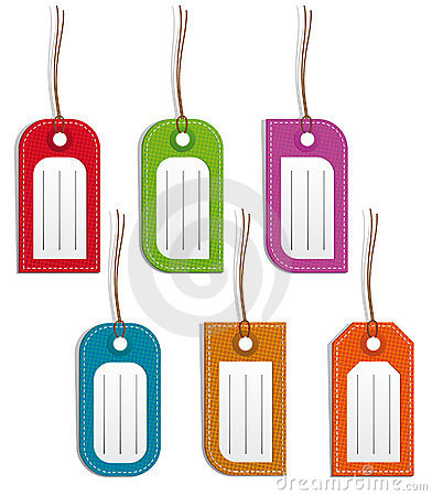 Set of colored name tags or price tags