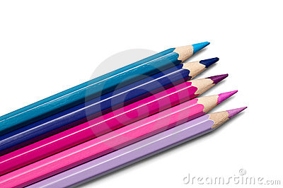 Set of colored pencils, violet-purple palette