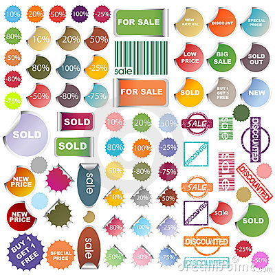 Set of colored promotional elements