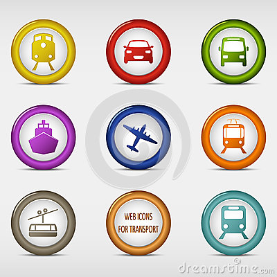 Set of colored round web icons for transport