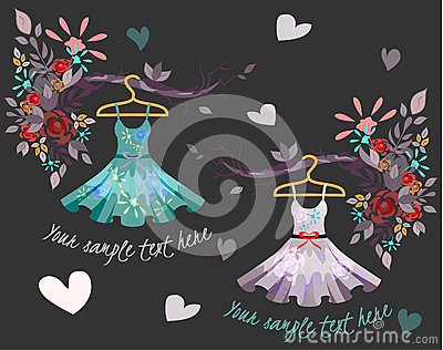 Set of colored summer dresses with floral pattern Vector Illustration