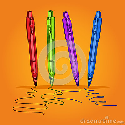 Free Set Colored Writing Pens For School, Business And Study. Handles For Learning, Letter, Line, Stroke. Vector Illustration. Royalty Free Stock Photo - 58243775