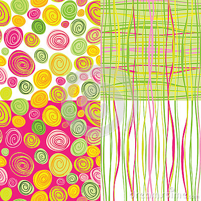 Set of  colorful abstract seamless backgroun